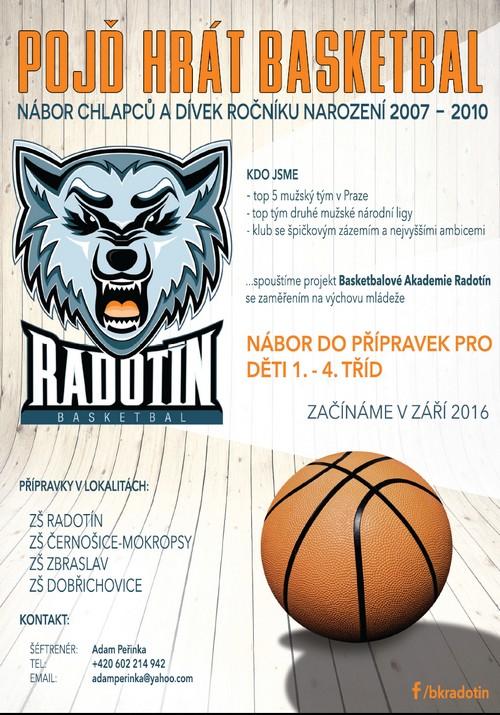 Leták Basketbalová Akademie Radotín